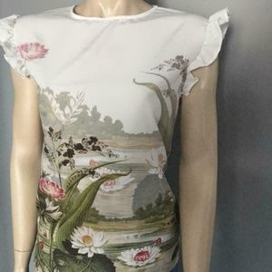Floral Frill Top COORAI Ruffle woven front top 6